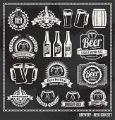 Chalkboard Beer Icon Vector Design Set - blackboard
