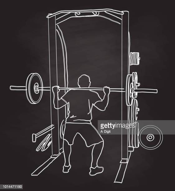 chalkboard bicep training gym - body building stock illustrations
