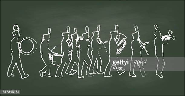 chalkboard big band - snare drum stock illustrations, clip art, cartoons, & icons