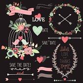 Chalkboard Birdcage Wedding Flowers- Illustration