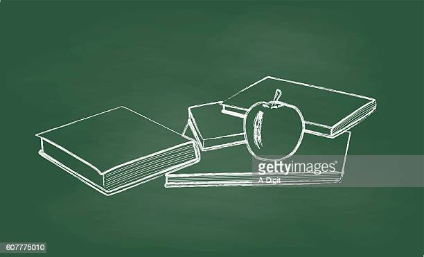 Chalkboard Books And Apple Vector Illustration