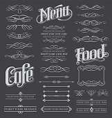 Chalkboard calligraphy menu design set