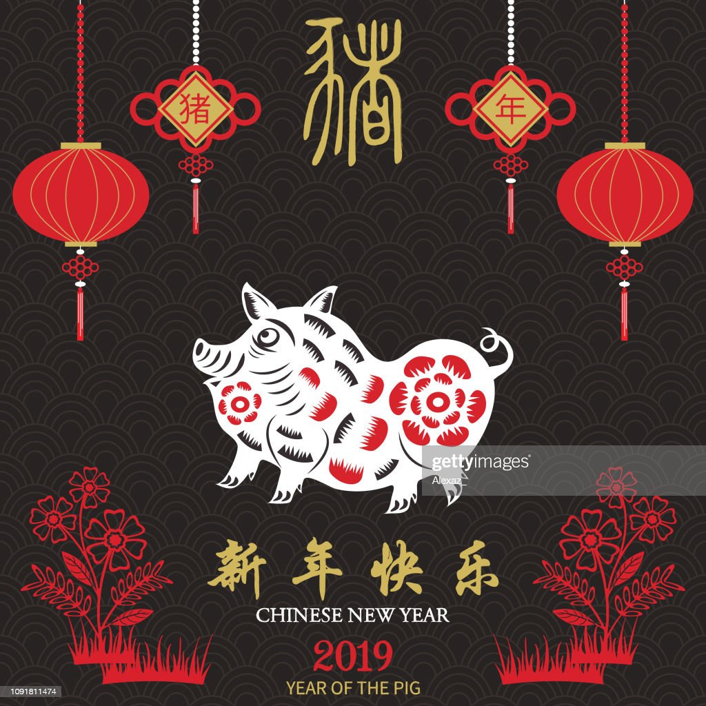 """Chalkboard Chinese New Year Of The Pig.2019 Lunar Chinese New Year,Chinese Zodiac. Chinese Text Translation: 2019 Year Of The Pig/ Translation """" xin nian kuai le """" : Propitious. Vector illustration"""