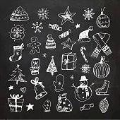 Chalkboard Christmas doodles set