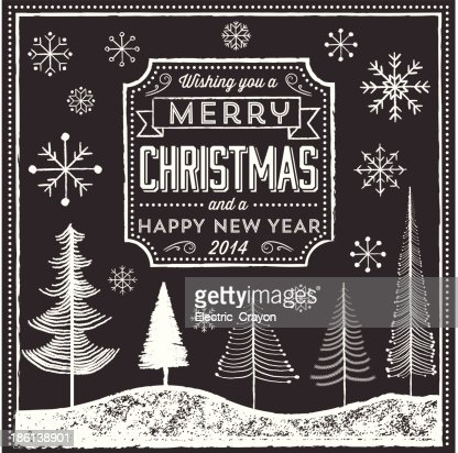 chalkboard christmas greeting vector art getty images