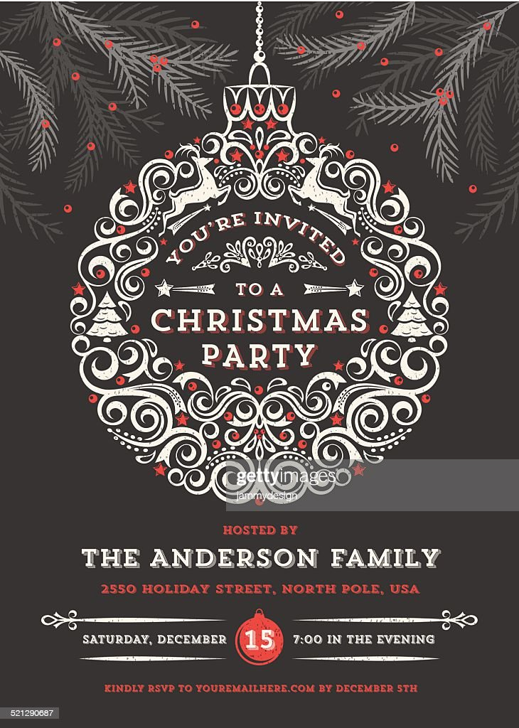 Chalkboard Christmas Ornament Party Invitation : Vector Art