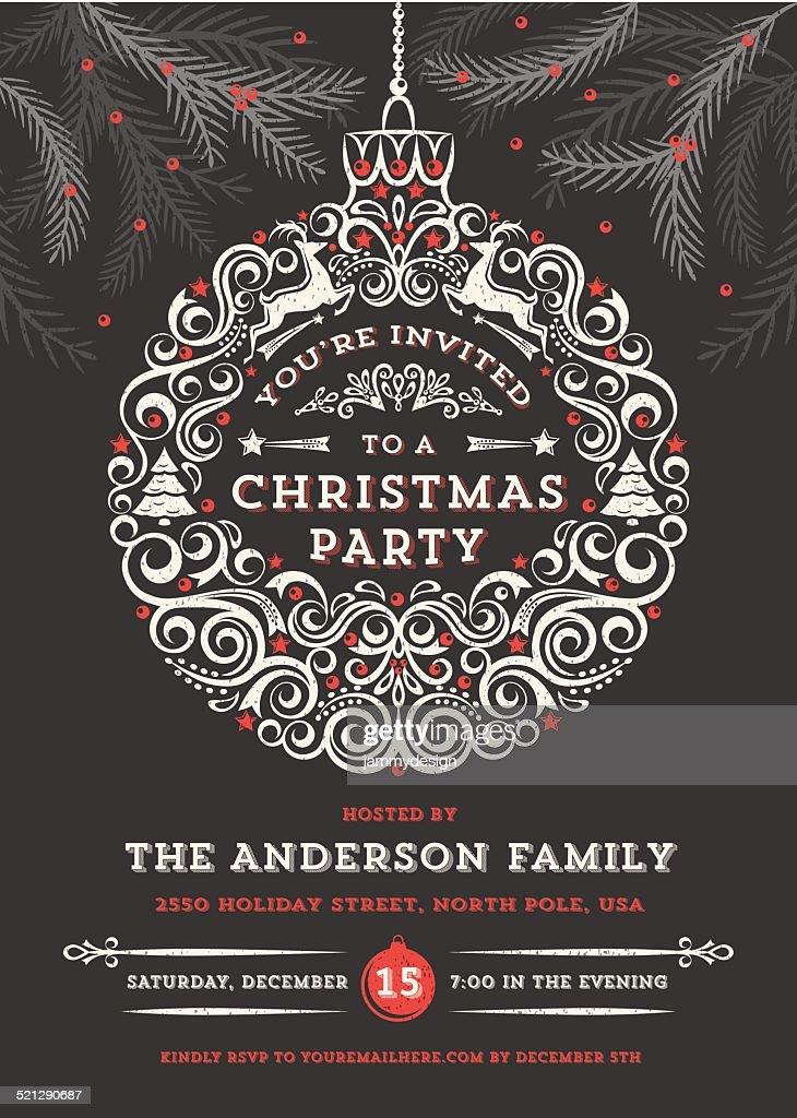 Chalkboard Christmas Ornament Party Invitation