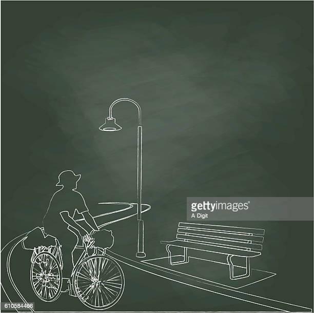 Chalkboard City Cycling Illustration