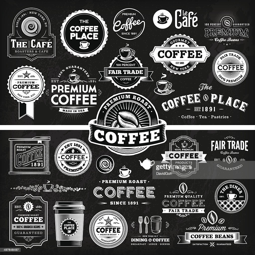 Chalkboard Coffee Label Megaset