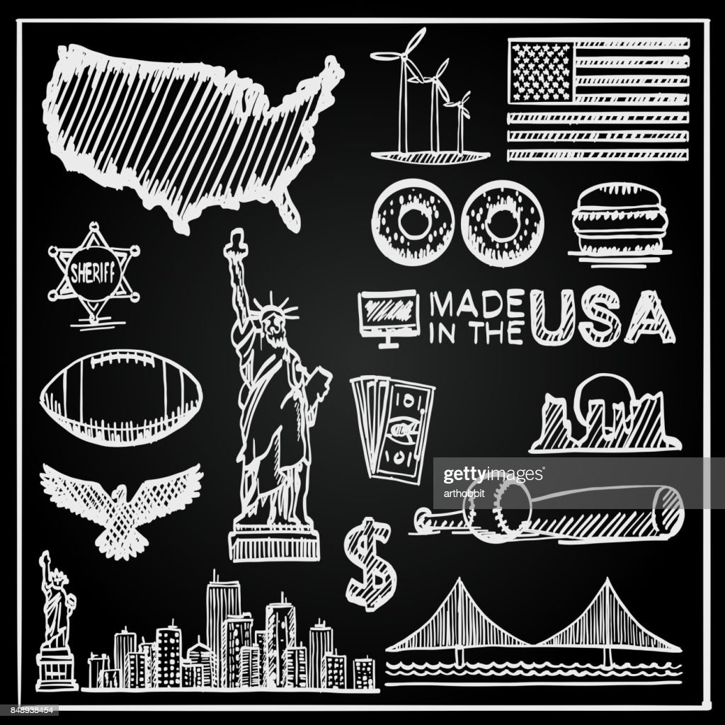 Chalkboard Collection of icons the United States.