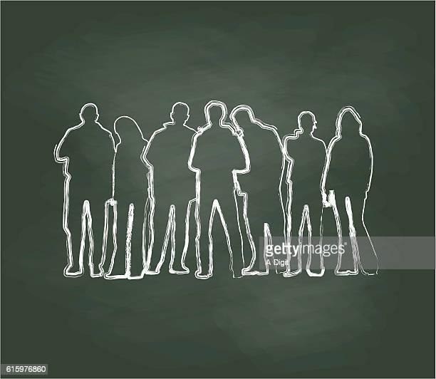 Chalkboard Crowd Of Young People Vector