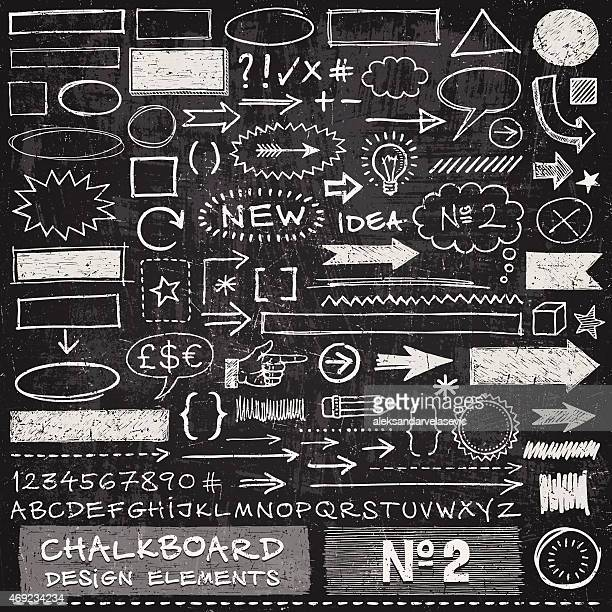 chalkboard design elements - exclamation mark stock illustrations