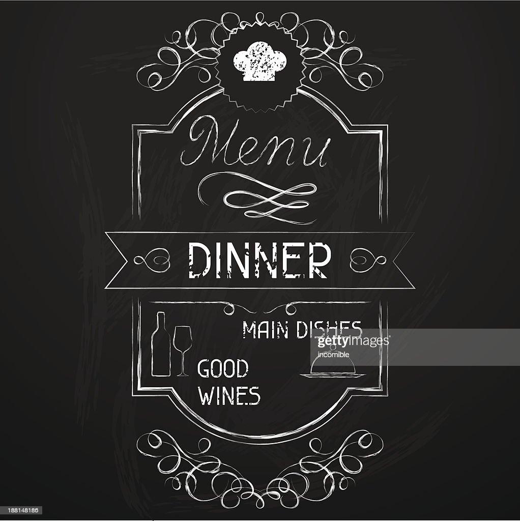 Chalkboard dinner menu with border detail