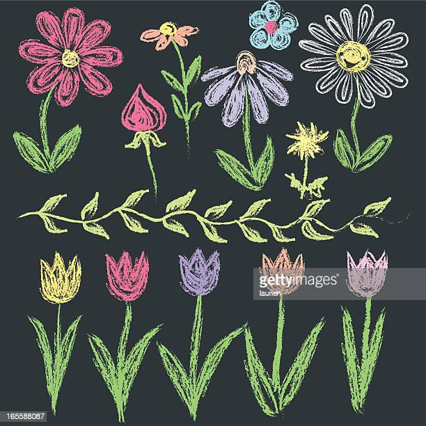 Chalkboard doodle flowers in various colors.