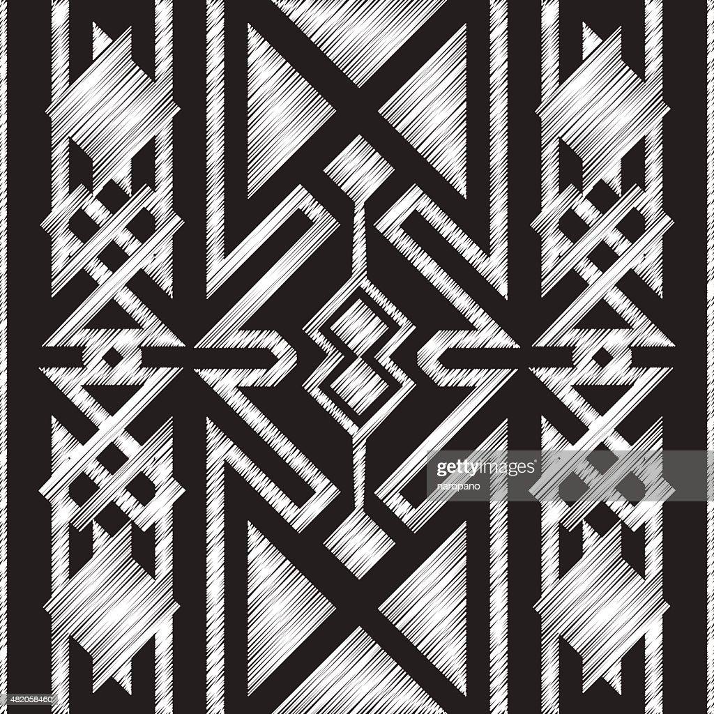 Chalkboard doodle Tribal Aztec Seamless Pattern.