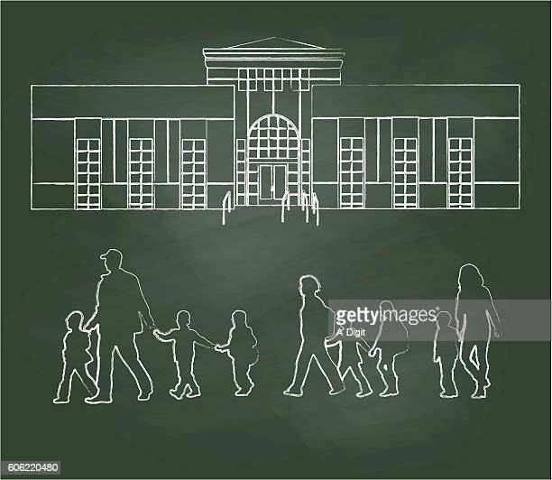 ilustraciones, imágenes clip art, dibujos animados e iconos de stock de chalkboard elementary school families vector illustration - edificio de escuela primaria