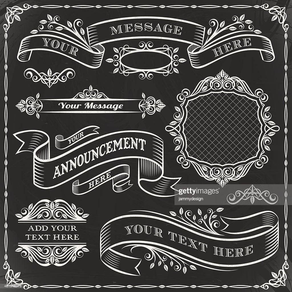 chalkboard elements set vector art getty images