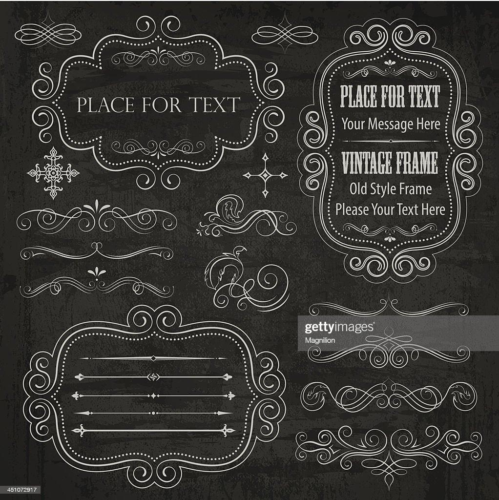 chalkboard elements vector art getty images
