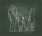 Chalkboard Family Pose Vector Illustration