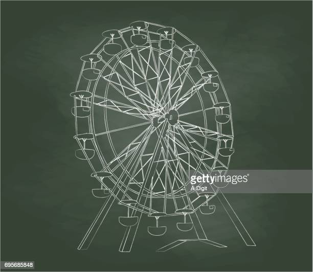 chalkboard ferris wheel - ferris wheel stock illustrations, clip art, cartoons, & icons