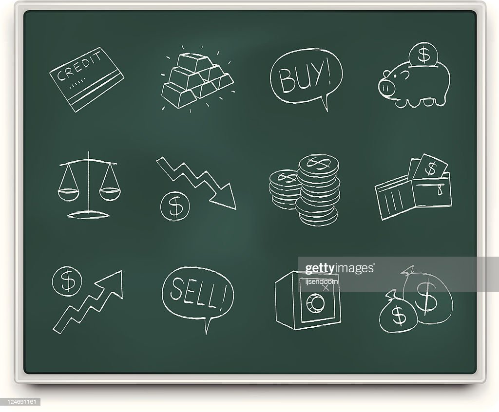 Chalkboard financial icons