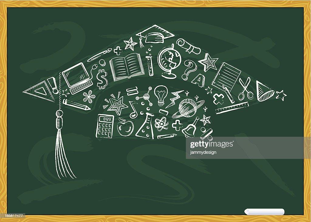 Chalkboard Graduation Cap : Vector Art