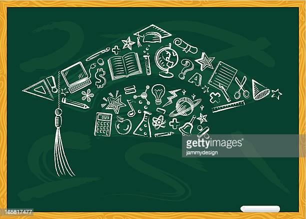 ilustraciones, imágenes clip art, dibujos animados e iconos de stock de chalkboard tapa de graduación - birrete
