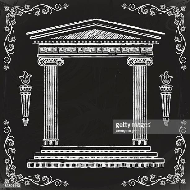 chalkboard greek temple - greek culture stock illustrations, clip art, cartoons, & icons