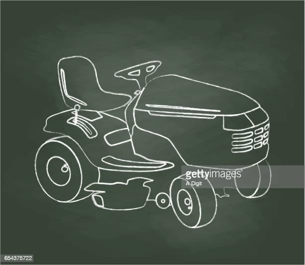 chalkboard lawn mower - lawn mower stock illustrations
