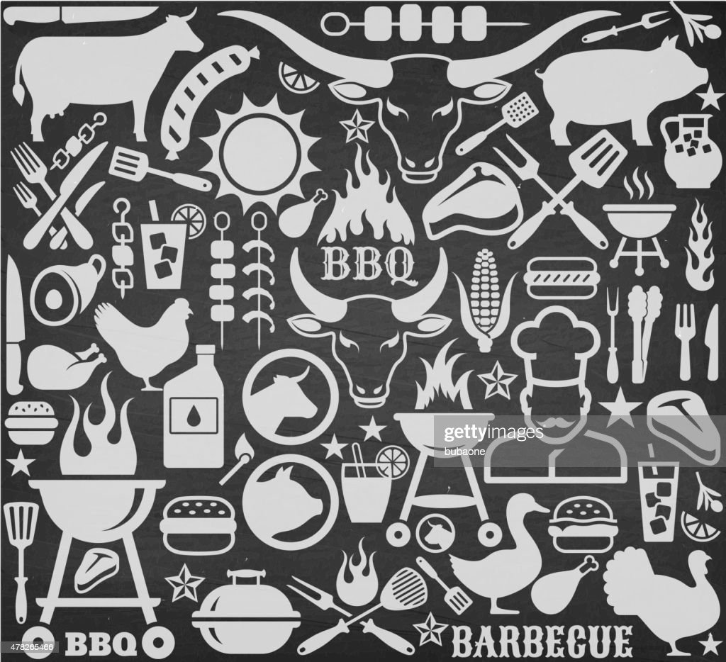 Chalkboard Llustrations And Icons With Barbecue Symbols Vector Art
