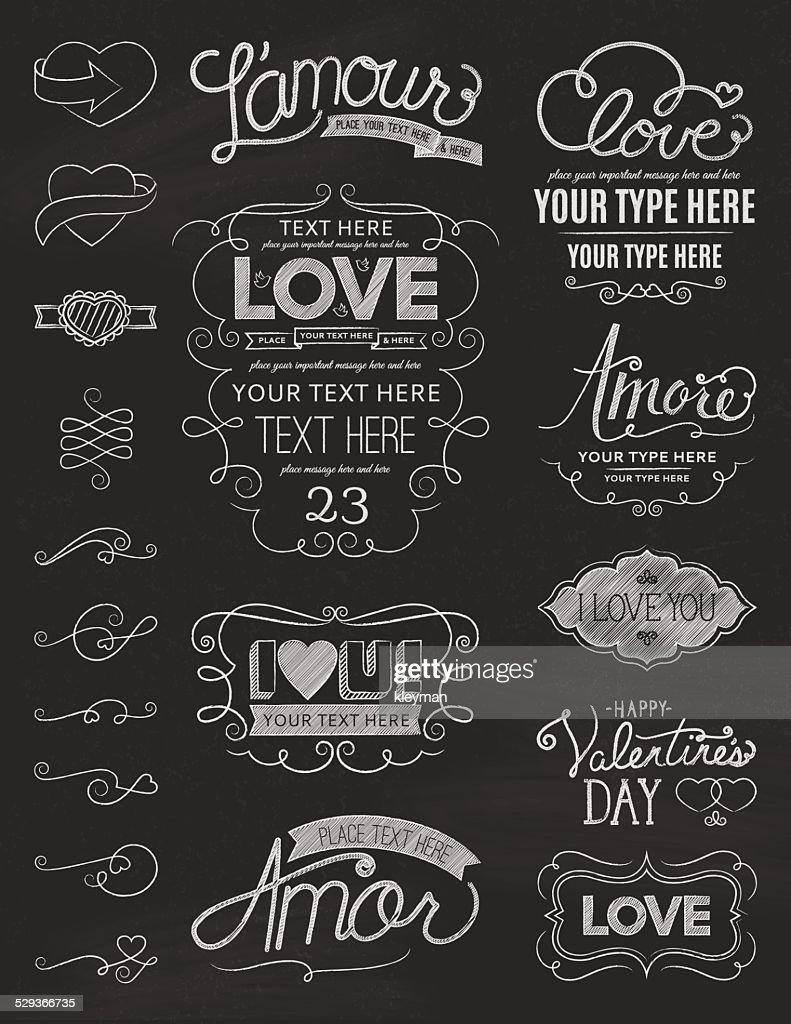 Chalkboard Love Design Elements