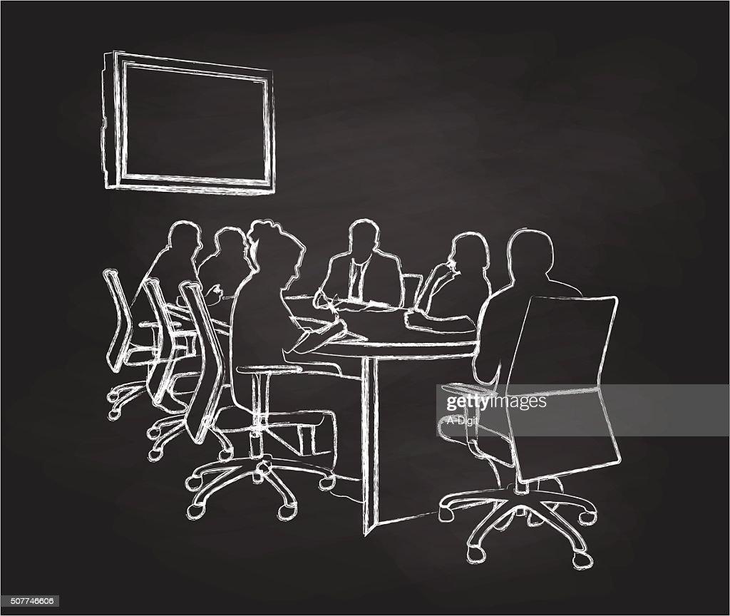 Chalkboard Meeting : stock illustration