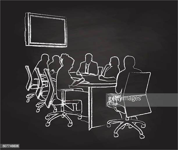 chalkboard meeting - conference table stock illustrations, clip art, cartoons, & icons