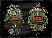 Chalkboard menu for halloween or thanksgiving with pumpkin dishe