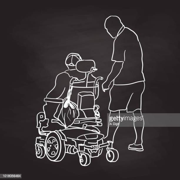 chalkboard old man power chair - paralysis stock illustrations, clip art, cartoons, & icons