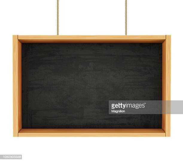 chalkboard on ropes - blank stock illustrations