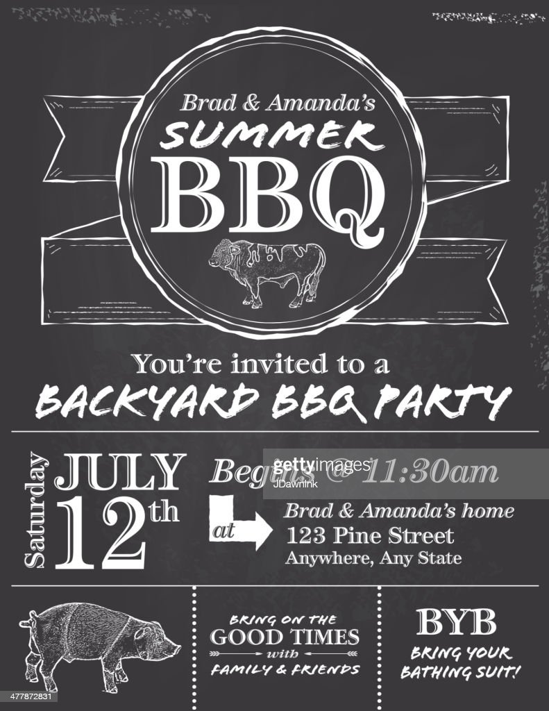 bbq chalkboard or blackboard invitation design template vector art