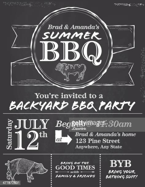 BBQ chalkboard or blackboard invitation design template