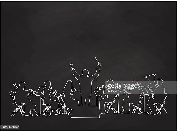 chalkboard orchestra - musician stock illustrations, clip art, cartoons, & icons