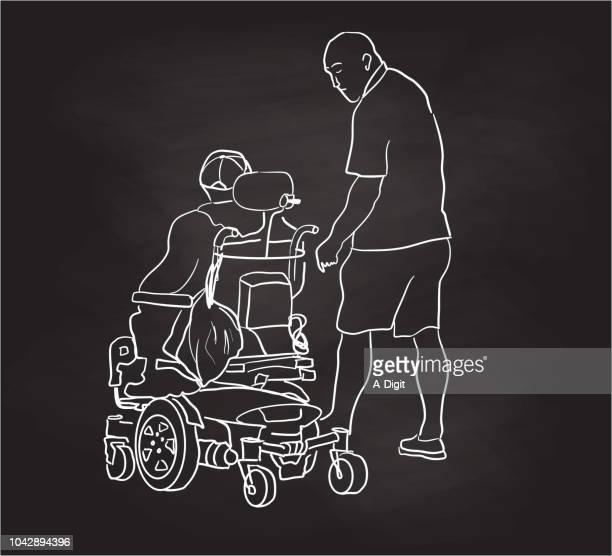 chalkboard paraplegic and friend - paralysis stock illustrations, clip art, cartoons, & icons