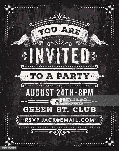 Chalkboard fête Invitation