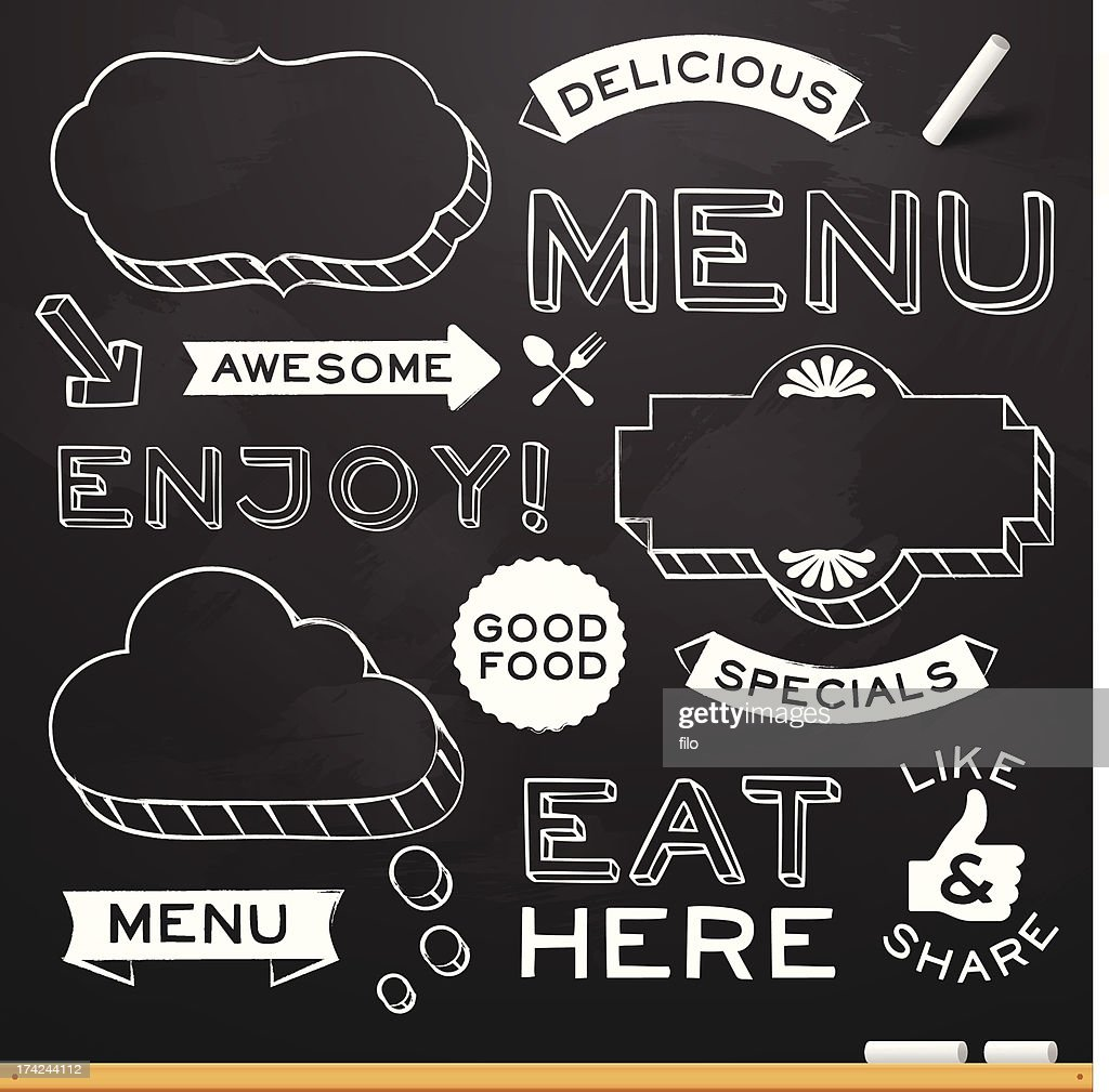 Chalkboard Restaurant Menu Elements Stock Illustration