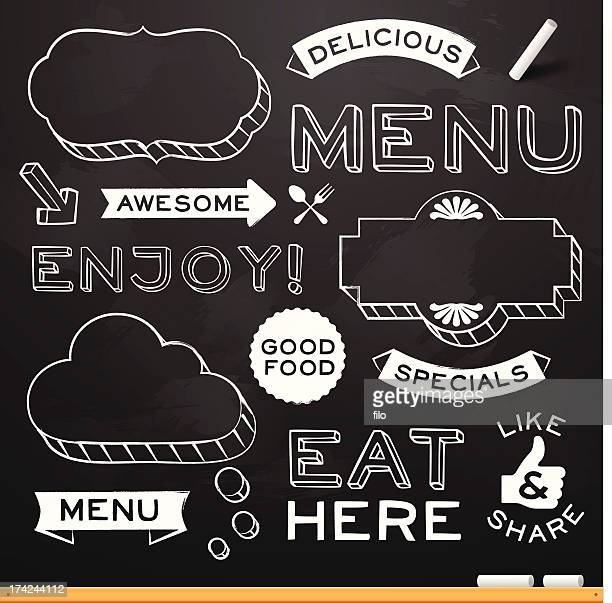 chalkboard restaurant menu elements - chalk art equipment stock illustrations, clip art, cartoons, & icons