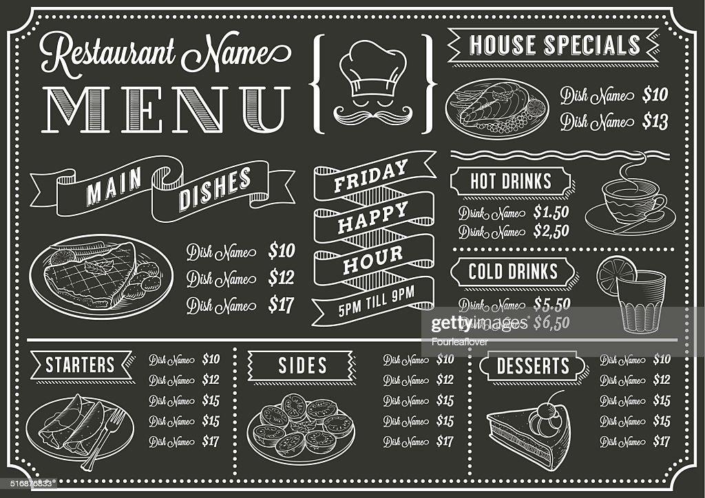 chalkboard restaurant menu template vector art getty images