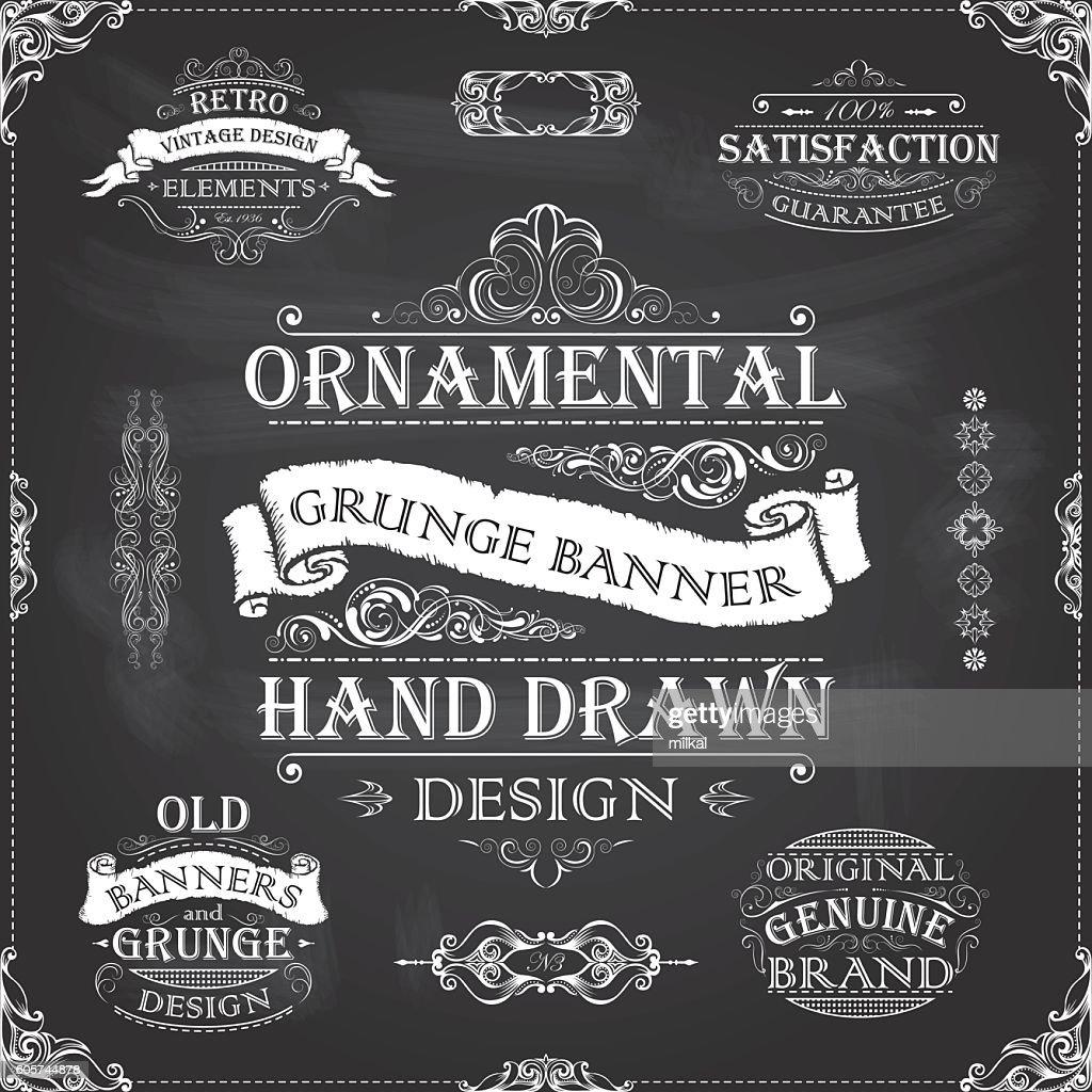 Chalkboard retro banners frames