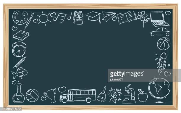 chalkboard school symbols - chalk art equipment stock illustrations, clip art, cartoons, & icons