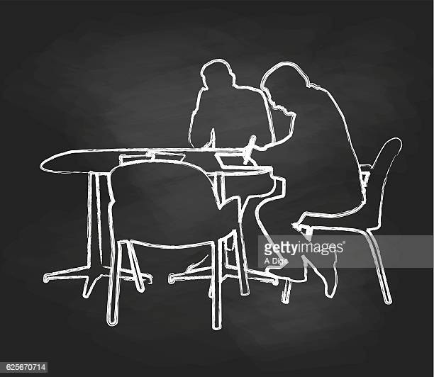 chalkboard signing on the line business - job interview stock illustrations, clip art, cartoons, & icons