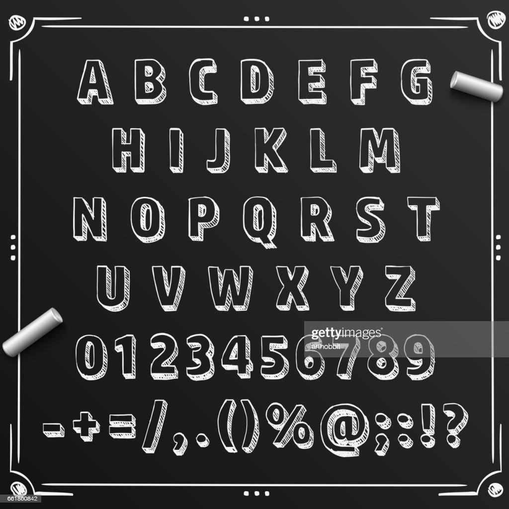 Chalkboard sketch font abc sign, set letter, Vector illustration