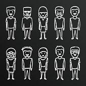 Chalkboard sketch people sing,  boy,  family.