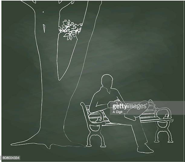 Chalkboard Smartphone In The Park Illustration